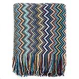 Battilo Multi-Colored Chevron Pattern Decorative Throw Blanket 60' x 50' Inc