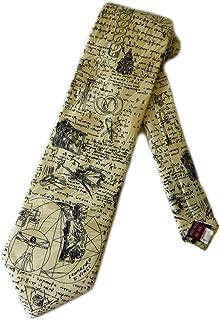 Museum Artifacts Mens Leonardo da Vinci Drawings Necktie - Beige - One Size Neck Tie