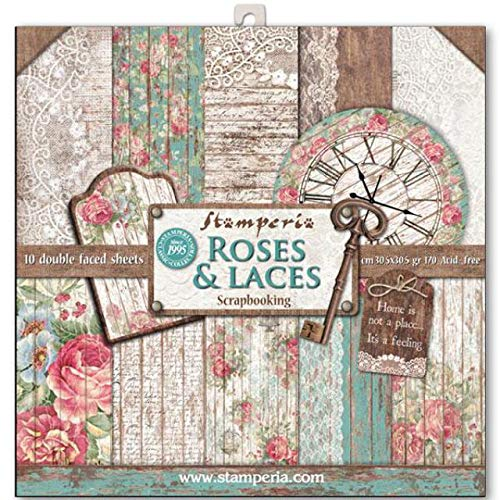 STAMPERIA Kit de Scrapbooking Roses, Lace and Wood 30x30cm, Multicolor, talla única