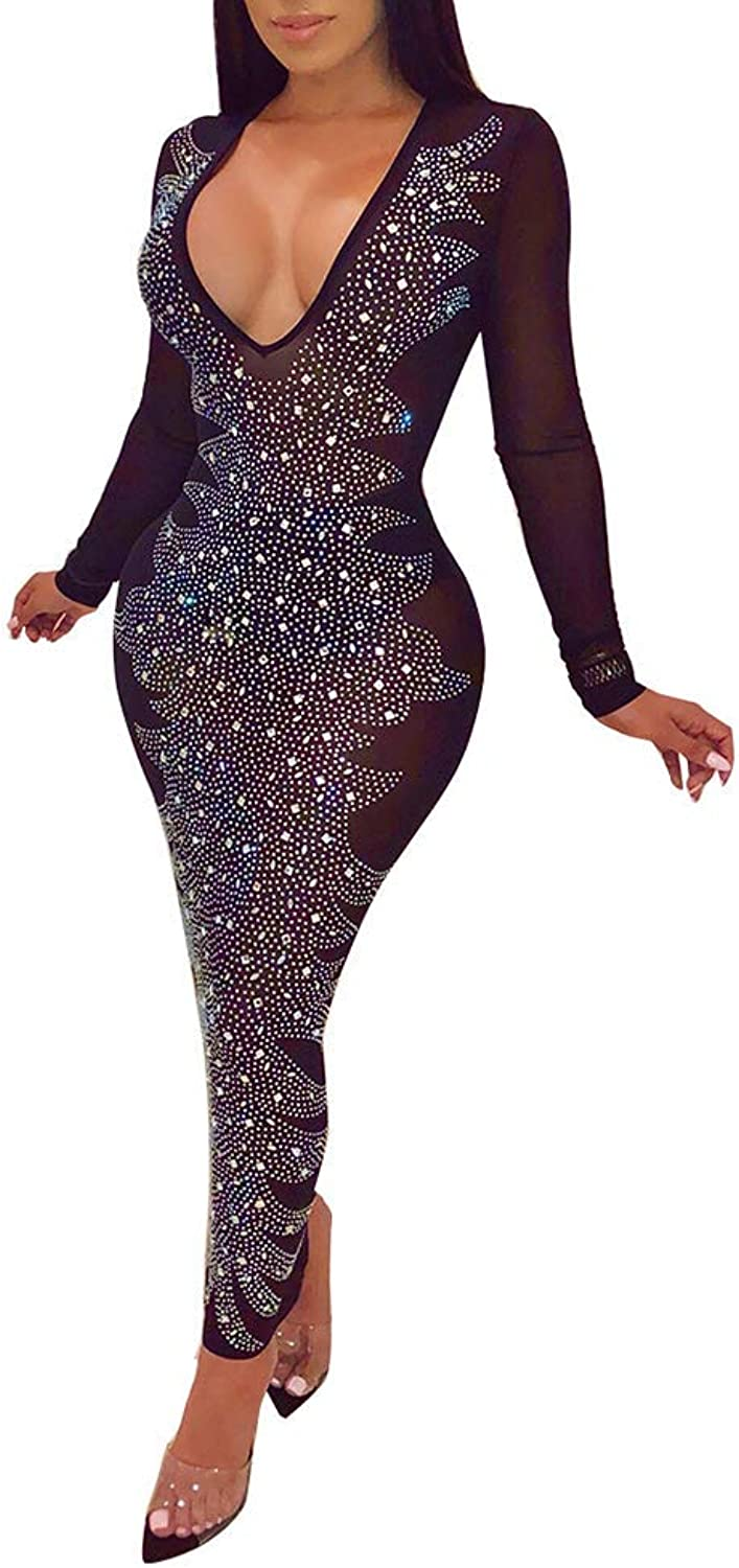 OLUOLIN Women's Sexy Deep V Neck Sequins Sheer Mesh See Through Long Sleeve Rhinestone Bodycon Long Dress