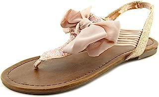 Womens Swan Fabric Split Toe Casual T Strap Sandals Blush 6.5 M US