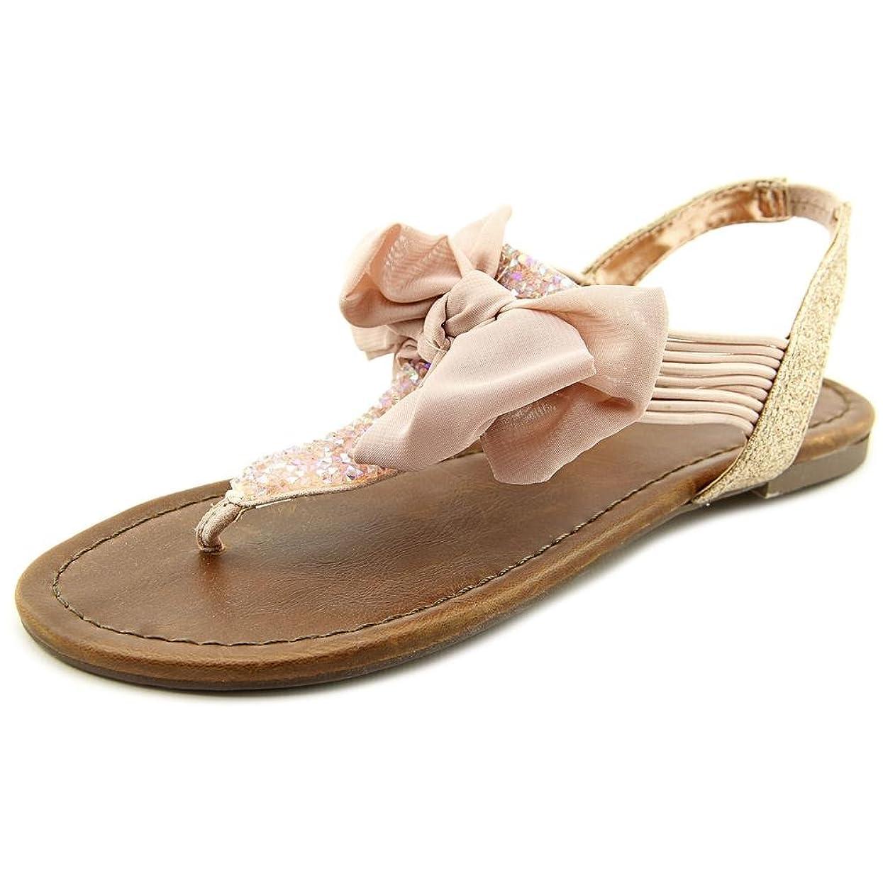 テナント授業料検索エンジンマーケティングMaterial Girl Womens Swan Split Toe Casual Flat Sandals, Pink, Size 5.5