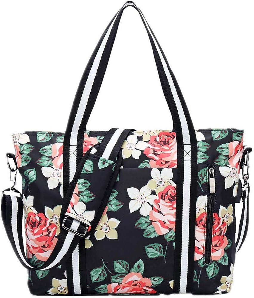 Travel Laptop Tote Bag with USB Charging Port Womens Business Messenger Handbags Computer Shoulder Bag Fits Black Rose