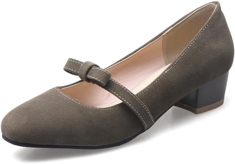 BalaMasa Womens Chunky Heels Square-Toe Bows Suede Pumps shoes