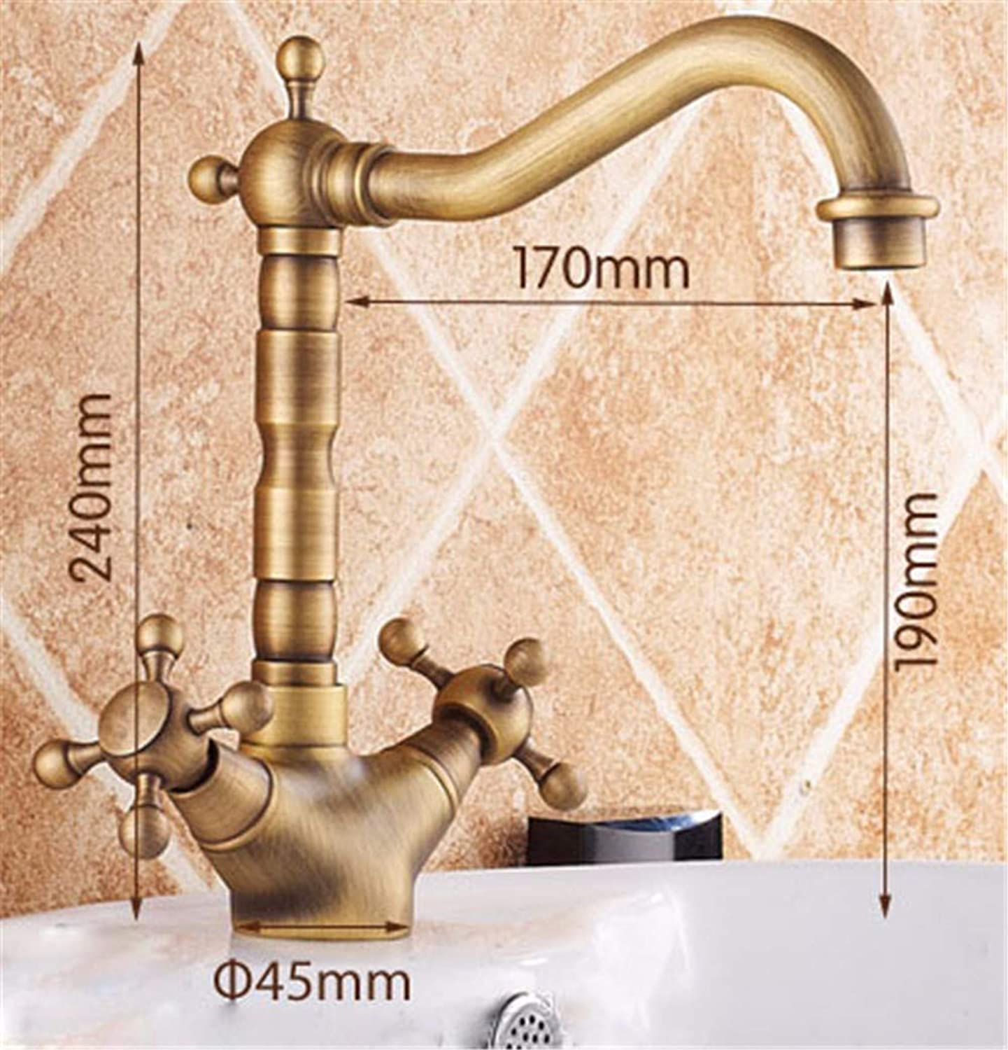 QWL-Faucet Retro copper faucet hot and cold basin single hole single handle, gold Basin Sink Mixer Tap Luxury Bathroom Lever Faucet