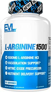Evlution Nutrition L-Arginine 1500 mg, Ultra-Pure Nitric Oxide Supplement, Muscle Growth and Vascularity, Energy and Stami...