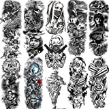 11 Sheets NEZAR Extra Large Soldier Air Force Military Full Arm Temporary Tattoo Sleeve For Men Women Adults Army 4th fourth of july Temporary Tatoos Pride Day Fake Tattoos Sticker Black Pilot Forearm