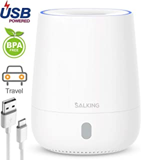 SALKING USB Essential Oil Diffuser, 120ml Aromatherapy Diffuser Small Portable Travel Oil Diffuser 7 Color LED Light Cool Mist Humidifier 1 Button Control Waterless Auto Shut-off for Home Office