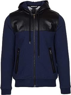 Marc by Marc Jacobs Men's Blue Leather Trim Zip Hoodie Sweatshirt