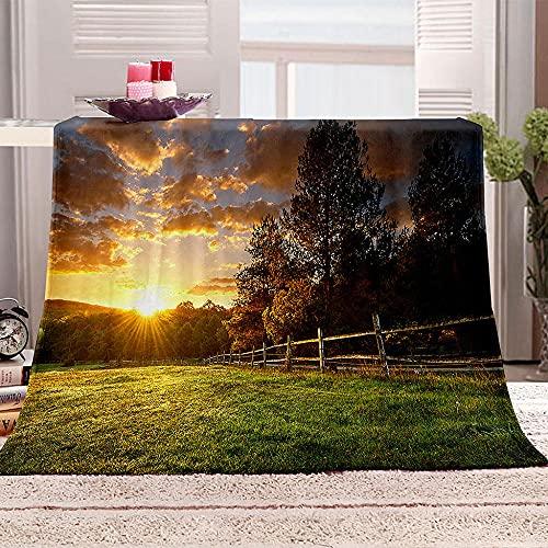Manta De Cama 3D Pastizales Puesta de Sol Manta Reversible Suave y Esponjosa De Lana Estampado Manta de Dormitorio para Cama Infantil Individual Matrimonio 150x200cm