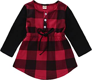 HAPPYMA Kids Little Girls Baby Long Sleeve Button Down Red Plaid Flannel Top Shirt Waist Tie Dress 1-5T