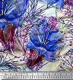 Soimoi Azul crepe de seda Tela bayas y lirio flor estampada de tela por metro 42...