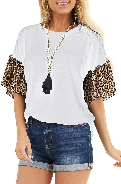 SENSERISE Womens Leopard Print Ruffle Short Sleeve Top Crewneck Tunic Loose Blouses Shirt
