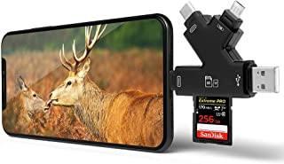 Arzopa Lector de Tarjetas de Memoria 4 en 1 SD con Conector Micro USB Tipo C para iPhone iPad teléfonos Android Mac PC y Visor de vídeo para cámara
