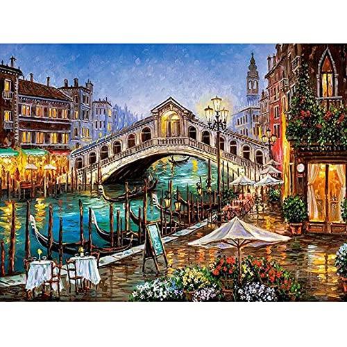 Pintura De Diamante 5D, Pintura Adhesiva, Punto De Cruz, Puentes De Europa, Mosaico Hecho A Mano, Bordado, Regalos De 30X40Cm