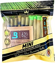 King Palm MINI Size Cones - (DISPLAY 8 PACK 200 ROLLS TOTAL) - Natural Pre Wrap Palm Leafs - Pre Rolled Cones - All Natura...