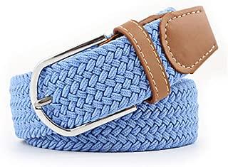 SGJFZD Men's and Women's Canvas Woven Elastic Pin Buckle Belt Personality Fashionable Student Belt (Color : Blue, Size : 105cm)