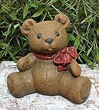 Tiefes Kunsthandwerk Steinfigur Teddy-bär in Hellbraun, Deko Figur Garten Frostsicher