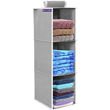 PrettyKrafts 3 Tiers Clothes Hanging Organizer, Wardrobe for Regular Garments, Shoes Storage Cupboard, Hanger Bag - Grey