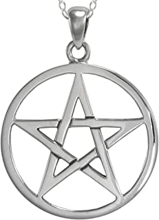 Sterling Silver Interwoven Pentacle Pentagram Necklace with Sterling Silver Cable Chain (16-30 Inches)