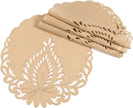 Xia Home Fashions XD17144 Wilshire Embroidered Cutwork Placemats Beige 4 Piece
