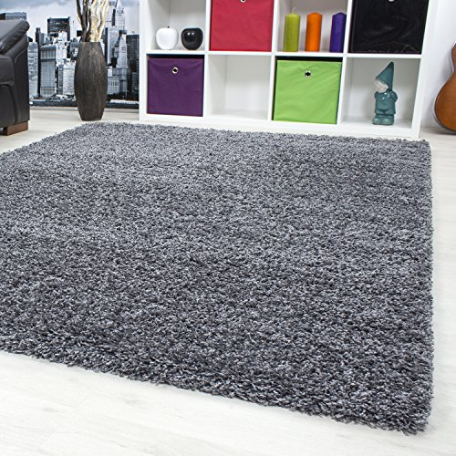 SMALL - EXTRA LARGE THICK MODERN PLAIN NON SHED SOFT SHAGGY RUG REC & ROUND DEPTH 50 MM LIVING ROOM SHAGGY RUGS, Color:Grey, Size:160x230 cm