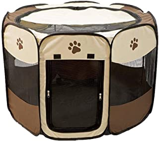 Etna Portable Foldable Pet Playpen for Dogs, Paw Print - Indoor and Outdoor Use - Pop-Up, Traveling, Kennel Design, Ideal for Keeping Pets Safe and Secure