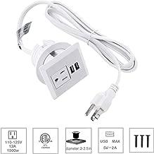 2inch USB Desk Power Grommet with Cover, Desk Hole Recessed USB Grommet Outlet, Desktop Plug Furniture grommet with 1 AC Outlet & 2 USB Ports.