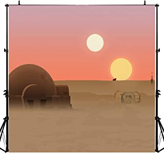 Twin Suns Planet Backdrop for Star Wars Theme Party, Desert Globe Tatooine Fans Banner Background, 6x6FT, Photo Booth Studio Props DSLU359
