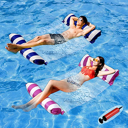 Pool Floats Adult Size - 2 Pack 4-in-1 Inflatable Pool Float Pool Floaties with...