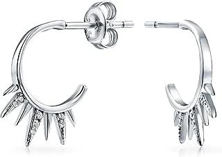Biker Spike Half Hoop Stud Earrings For Men For Women Cubic Zirconia Pave CZ Accent 925 Sterling Silver