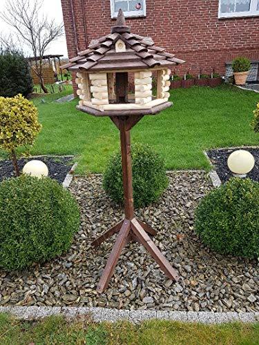 Dormax Vogelhaus & Ständer Futterhaus Gartendekoration aus Holz mit Gauben XXL