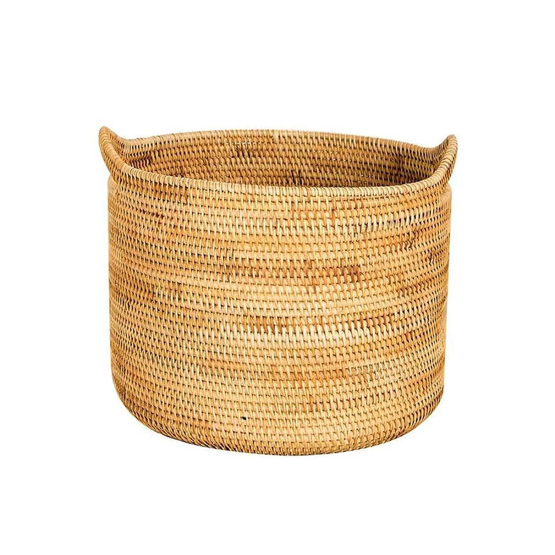 かまど代理人怒り籐織物収納バケツ/織おもちゃ、雑貨収納バスケット/マルチサイズオプション ZHYGDQ (Size : 39×34cm)