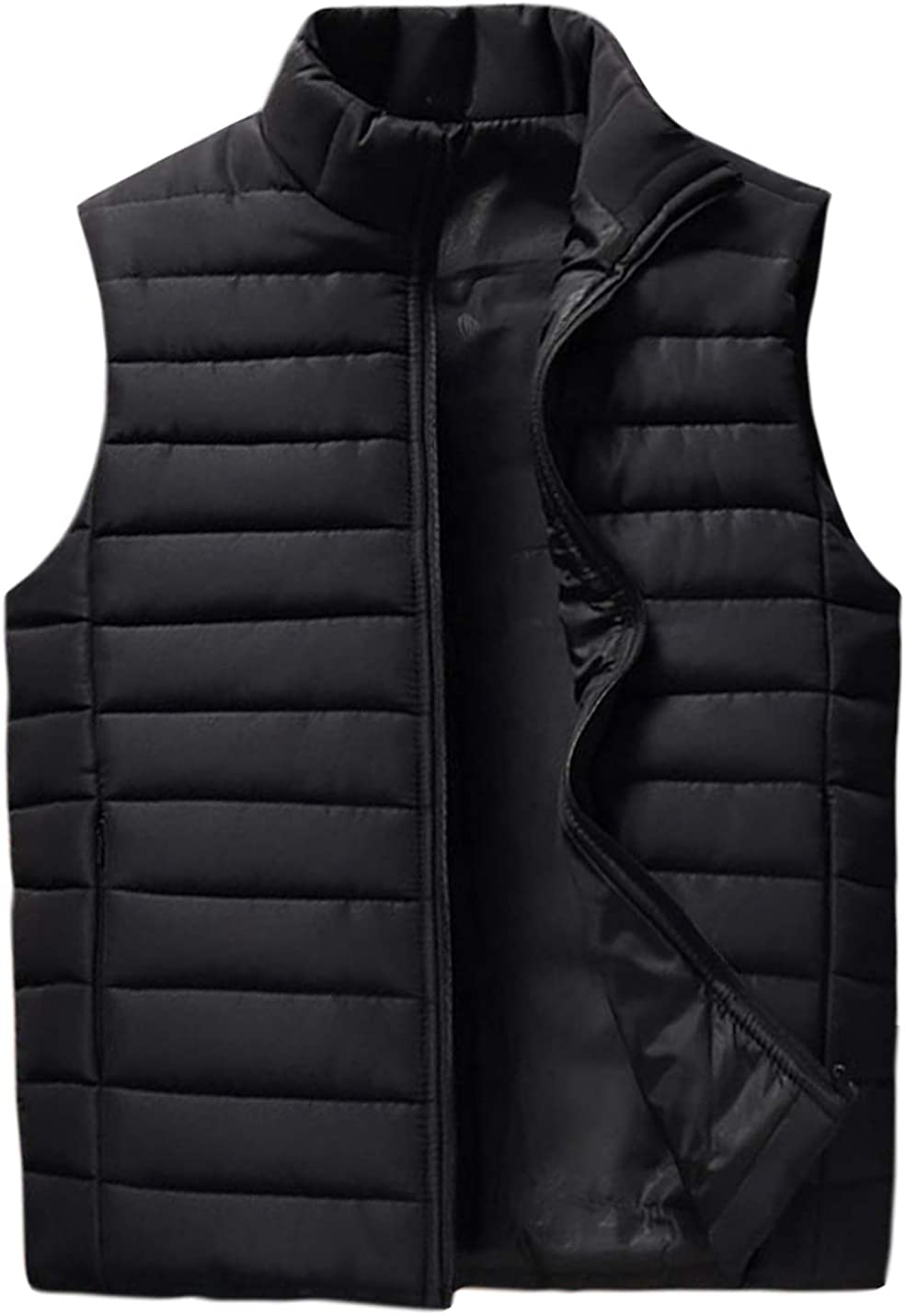 Jenkoon Mens Outdoor Casual Vest Quilted Stand Collar Down Alternative Puffer Padded Vest