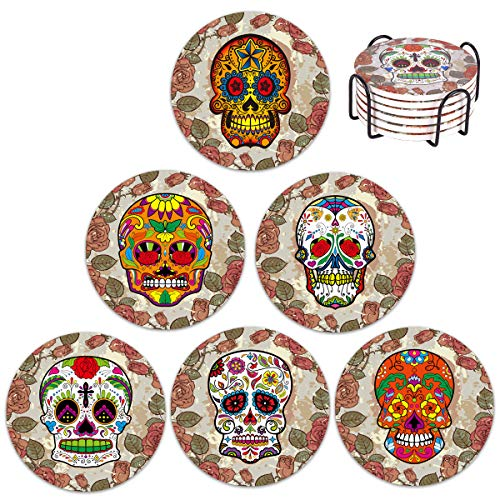 Vencer The Nightmare Before X-MAS Coasters Skull Head Ceramic Coasters for Drink with Holder - Absorbing Stone Coasters with Cork Base,Prevent Furniture - Day of the Dead Dia De Muertos,Set of 6