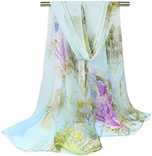 Bullidea Silk Scarf Women's Floral Printing Decoration Chiffon Scarf Beach Thin Shawl Wrap Sunscreen, 1 Pc