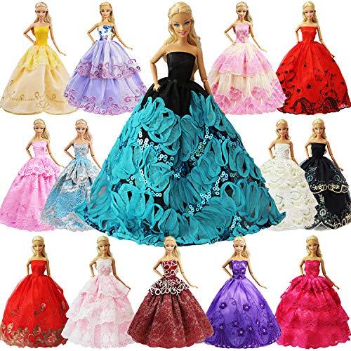 ZITA ELEMENT 5er Packung Handmade Bekleidung für 11,5 Zoll Girl Doll Puppe Hochzeit Party Abendkleid Kleider & Kleidung Mädchen Geschenk Modisch Brautkleider Ballkleider