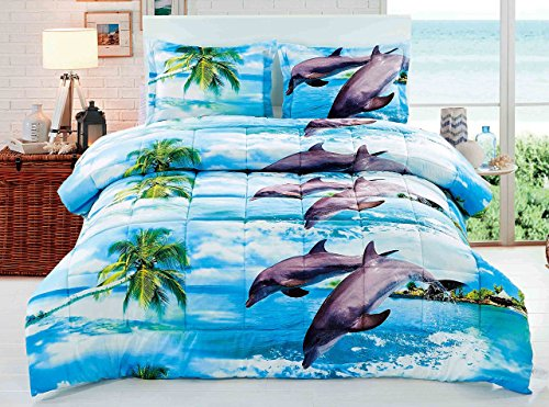 3 Piece Box Stitched 3d Dancing Dolphin Prints Faux Fur Comforter Set (D012) (Queen)