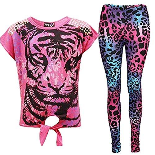 A2Z 4 Kids® Nieuwe Meisjes Tijger Gezicht Print Party Mode Top T Shirt & Luipaard Legging Set Leeftijd 7 8 9 10 11 12 13 Jaar