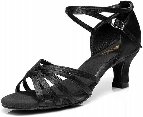BYLE Sangle de Cheville Sandales en Cuir Chaussures de Danse Modern'Jazz Samba Président Classique Adultes Soft Satin Tressé à Haut Talon Bas Chaussures de Danse Latine Danse Sociale Noir 7cm