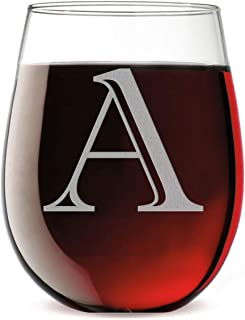 Monogram Etched 17oz Stemless Wine Glass (Letter A)