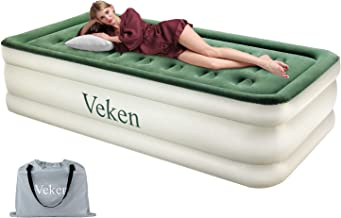 Veken Twin Air Mattress with Built-in Pump, Luxury Twin Size Inflatable Airbed with Air Coil Technology - Elevated Raised Double High Air Mattress, 78 x 40 x 18 inches
