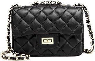 OKASIS Women Fashion Black PU Leather Shoulder Bag Clutch Handbag Quilted Designer Crossbody Bag with Chain Strap