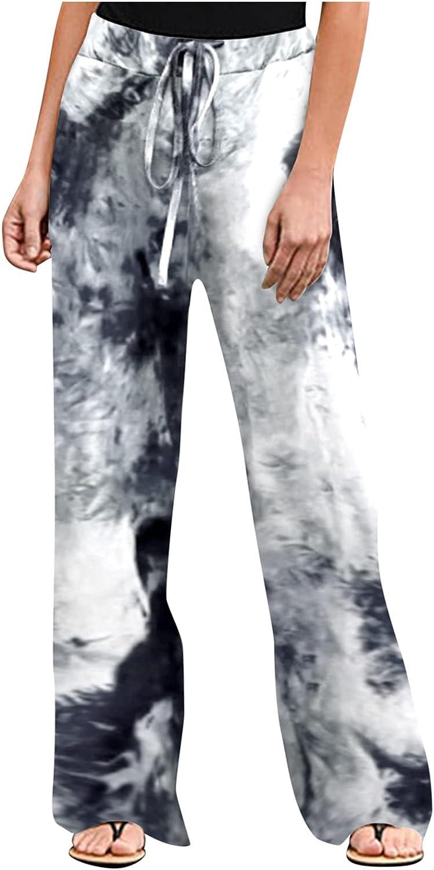Women Casual Pants Wide Leg Long Pants Tie Dye Print Summer Pants Drawstring Baggy Sweatpants Harem Pants Trousers