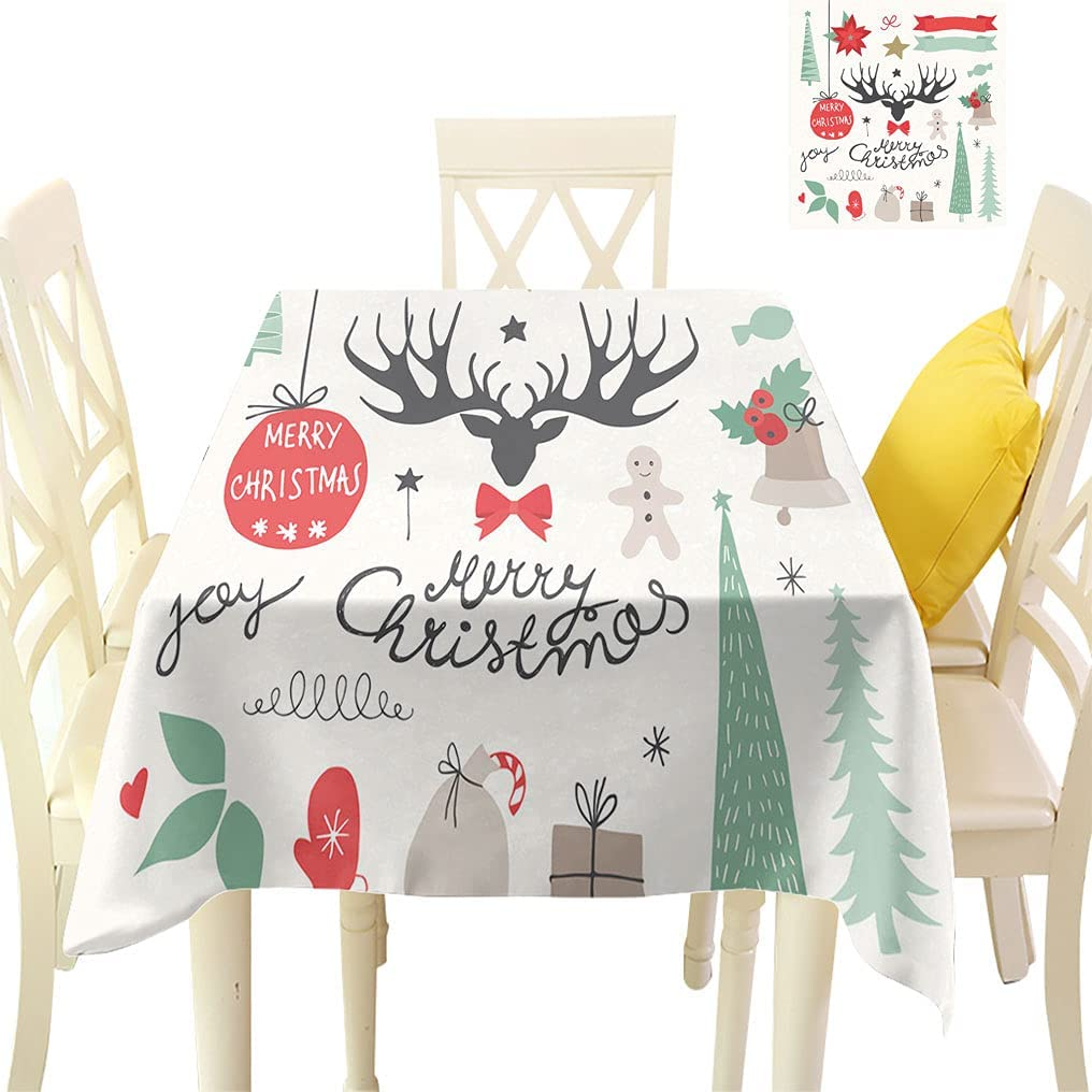 Christmas Max 72% OFF Decor Square Tablecloths and Elements Symbo Max 48% OFF