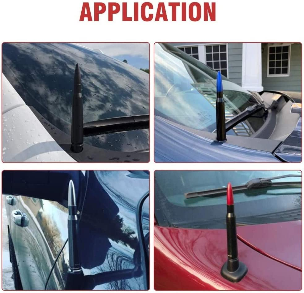 VWMYQ Replacement Short Bullet Antenna for Ford F150 F250 F350 and Dodge RAM Super Duty Ford Raptor Trucks Black