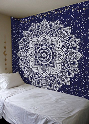 Madhu International Mandala Tapestry Psychedelic Floral Medallion Hippie King Tapestries Bohemian Wall Hanging Indian Traditional Design For Living Room Dorm Home Decor 90x108 Inches, Blue Silver