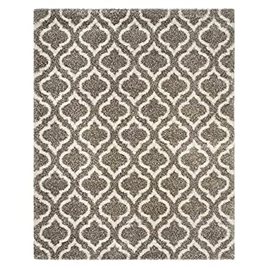 Safavieh Hudson Shag Collection SGH284B Grey and Ivory Moroccan Geometric Area Rug (9' x 12')