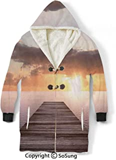 Art Blanket Sweatshirt,Sunset Photo from Old Wooden Pier Deck Over The Sea Horizon Clouds by The Ocean Art Wearable Sherpa Hoodie,Warm,Soft,Cozy,XXXXL,for Adults Men Women Teens Friends,Yellow Blue B