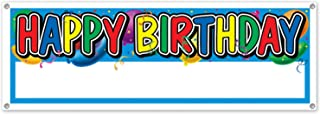 Beistle 50187 Happy Birthday Sign Banner, 5-Feet by 21-Inch, Multicolored